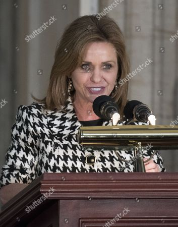United States Representative Lynn Jenkins (Republican of Kansas) makes remarks at a Congressional Gold Medal ceremony honoring former US Senator Bob Dole (Republican of Kansas)