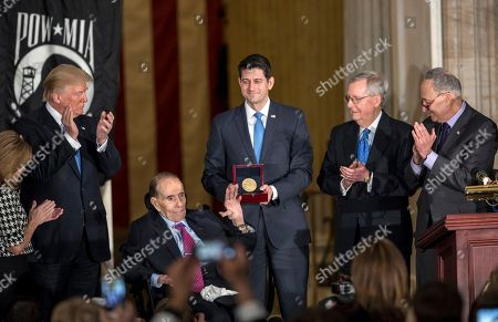 Bob Dole, Donald Trump, Lynn Jenkins, Paul Ryan, Mitch McConnell, Chuck Schumer. Former Senate Majority Leader Bob Dole, is joined by, from left, Rep. Lynn Jenkins, R-Kan., President Donald Trump, Speaker of the House Paul Ryan, R-Wis., Senate Majority Leader Mitch McConnell, R-Ky., and Senate Minority Leader Chuck Schumer, D-N.Y., as he is honored at the Capitol during with a Congressional Gold Medal, in Washington