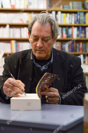 Stock Image of Signing session of the new book by Paul Auster, called 4 3 2 1, Actes Sud Editions at Millepages Bookstore.