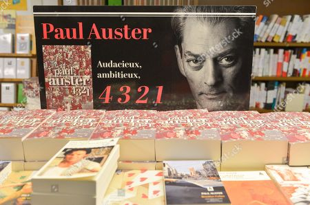 Stock Picture of Signing session of the new book by Paul Auster, called 4 3 2 1, Actes Sud Editions at Millepages Bookstore.