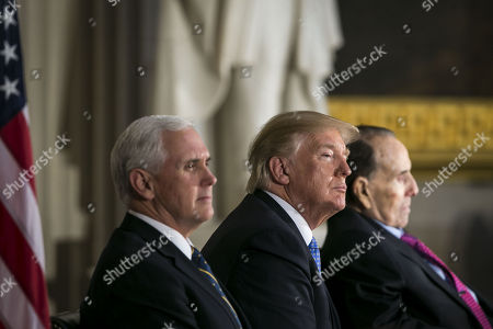U.S. Vice President Mike Pence, U.S. President Donald Trump, and former Senator Bob Dole attend a congressional Gold Medal ceremony for Dole, in Washington D.C., U.S.,.