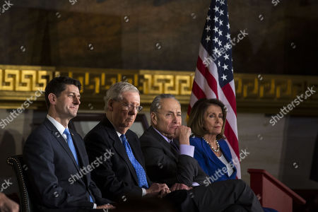 U.S. House Speaker Paul Ryan, a Republican from Wisconsin, Senate Majority Leader Mitch McConnell, a Republican from Kentucky, Senate Minority Leader Chuck Schumer, a Democrat from New York, and House Minority Leader Nancy Pelosi, a Democrat from California, attend a congressional Gold Medal ceremony for former Senator Bob Dole, in Washington D.C., U.S.,.