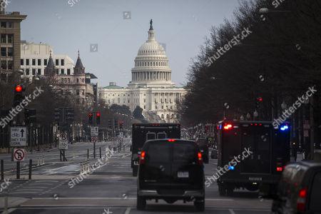 U.S. President Donald Trump's motorcade drives to the U.S. Capitol, for a congressional Gold Medal ceremony for former Senator Bob Dole, in Washington D.C., U.S.,.