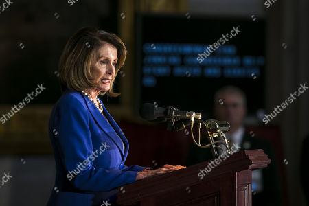 House Minority Leader Nancy Pelosi, a Democrat from California, at a Congressional Gold Medal ceremony honoring former US Senator Bob Dole (Republican of Kansas)