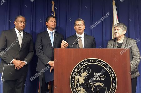 """Xavier Becerra, Loren J. Blanchard, Eloy Ortiz Oakley, Janet Napolitano. California Attorney General Xavier Becerra, at podium, is joined by, from left, Loren J. Blanchard, California State University Executive Vice Chancellor for Academic and Student Affairs; Eloy Ortiz Oakley, California Community Colleges Chancellor; and Janet Napolitano, University of California President at a news conference in Sacramento. Becerra is concerned about open-ended immigration sweeps as he and other California officials say the Trump administration should concentrate on deporting dangerous felons. Immigration officials declined to comment on any specific operations, but Democratic U.S. Sens. Dianne Feinstein and Kamala Harris asked for details and called raids punishing Californians """"an abhorrent abuse of power"""" and waste of resources"""