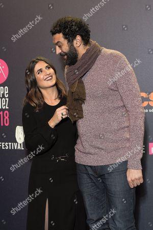 Geraldine Nakache and Ramzy Bedia attend 'Les Aventures de Spirou et Fantasio' Photocall