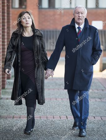 Stock Image of Television presenter Chris Tarrant arrives at Reading Magistrates Court with his partner Jane Bird where he faces drink driving charges.