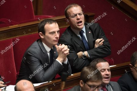 Stock Image of Fabien Di Filippo and Thibault Bazin attend the weekly session of the questions to the government at French parliament.