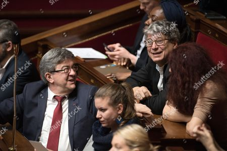 Leader of 'La France Insoumise' Jean-Luc Melenchon and Eric Coquerel attend the weekly session of the questions to the government at French parliament.