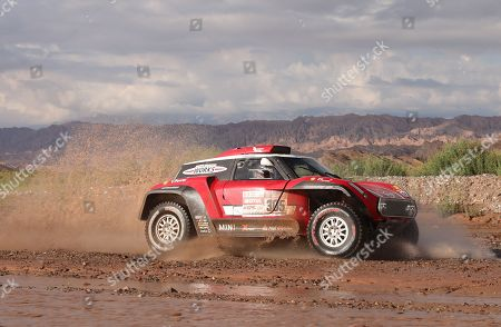 Finnish Mikko Hirvonen of Mini competes during the twelfth stage of the 2018 Rally Dakar, that runs between Chilecito and San Juan, Argentina, 18 January 2018.