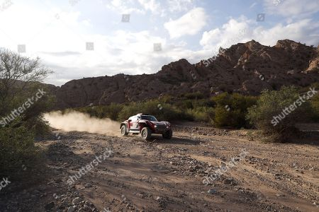 Finnish drivers of Mini Mikko Hirvonen and Andreas Schulz compete during stage 12th of the 2018 Rally Dakar, that runs between Chilecito and San Juan, Argentina, 18 January 2018.