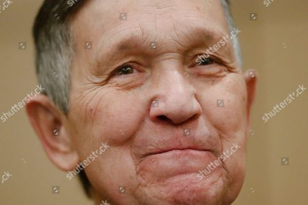 Former U.S. Rep. Dennis Kucinich reacts to a question at a news conference, in Cincinnati, after announcing his run for Ohio governor the previous day Kucinich said he would muster state resources to fight poverty and violence, boost arts and education and expand economic opportunity