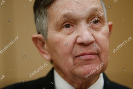 Former U.S. Rep. Dennis Kucinich takes a question at a news conference, in Cincinnati, after announcing his run for Ohio governor the previous day Kucinich said he would muster state resources to fight poverty and violence, boost arts and education and expand economic opportunity
