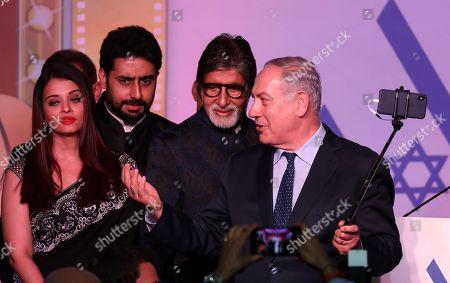 Benjamin Netanyahu, Aishwarya Rai Bachchan, Abhishek Bachchan and Amitabh Bachchan