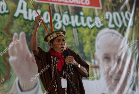 Ashaninka David Barbosa addresses a meeting by Amazonian indigenous in Puerto Maldonado, Madre de Dios province, Peru, one day before Pope Francis arrives to Peru's Amazon