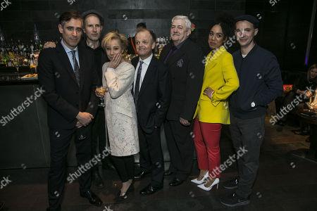 Stephen Mangan (Goldberg), Ian Rickson (Director), Zoe Wanamaker (Meg), Toby Jones (Stanley Webber), Peter Wright (Petey Boles), Pearl Mackie (Lulu) and Tom Vaughan-Lawlor (McCann)