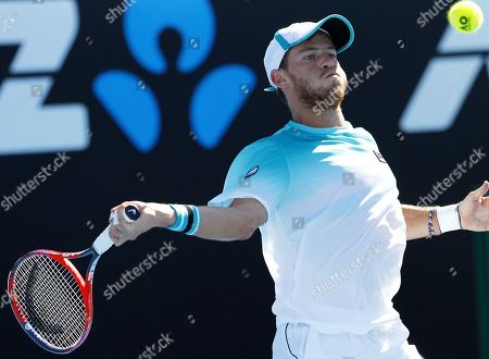 Stock Picture of Diego Schwartzman of Argentina in action during his third round match against Alexandr Dolgopolov of the Ukraine at the Australian Open Grand Slam tennis tournament in Melbourne, Australia, 19 January 2018.