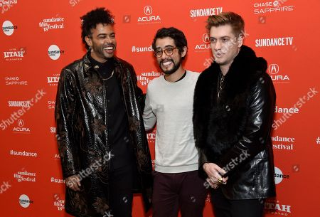 """Rafael Casal, Daveed Diggs, Carlos Lopez Estrada. Carlos Lopez Estrada, center, director of """"Blindspotting,"""" poses with cast members, co-writers and co-producers Daveed Diggs, left, and Rafael Casal at the premiere of the film on the opening day of the 2018 Sundance Film Festival, in Park City, Utah"""