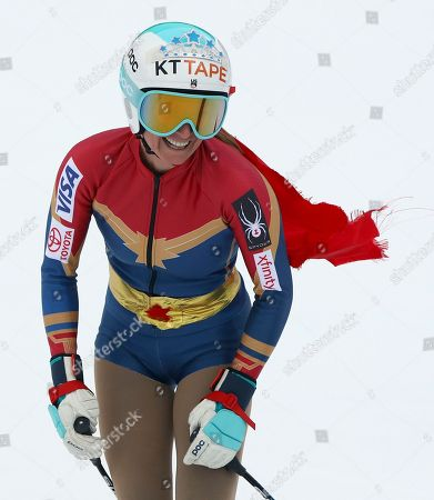 United States' Julia Mancuso smiles as she completes an alpine ski, women's World Cup downhill, in Cortina D'Ampezzo, Italy, Friday, Jan.19, 2018. Mancuso announced she will retire from skiing after a goodbye run in a World Cup downhill Friday