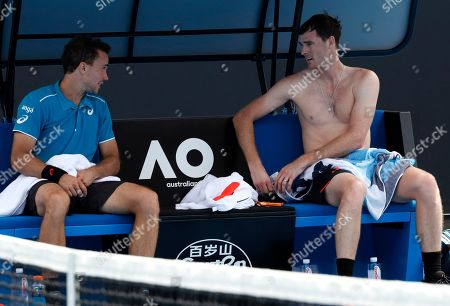 Jamie Murray, Bruno Soares. Britain's Jamie Murray, right, talks to partner Brazil's Bruno Soares during their doubles match against India's Leander Paes and Purav Raja at the Australian Open tennis championships in Melbourne, Australia