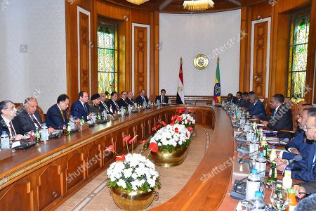Stock Picture of Egyptian President Abdel Fattah al-Sisi meets with Ethiopia Prime Minister Hailemariam Desalegn at the Presidential Palace in the capital Cairo