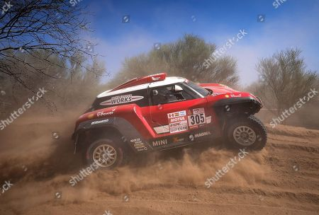 Finnish Mikko Hirvonen of Mini competes during the 13th stage of the 2018 Rally Dakar, between San Juan and Cordoba, in Argentina, 19 January 2018.