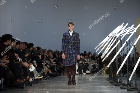 A model presents a creation from the Fall/Winter 2018/2019 Ready to Wear collection by US designer Jason Basmajian for Cerruti fashion house during the Paris Fashion Week, in Paris, France, 19 January 2018. The presentation of the Men's collections runs from16 to 21 January 2018.