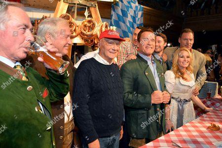 Stock Picture of Karl Schranz, Balthasar Hauser, Niki Lauda, Wladimir Klitschko, Arnold Schwarzenegger, Patrick Schwarzenegger, Ralf Moeller, Heather Milligan