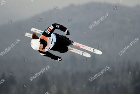 Ashley Caldwell, of the United States, competes in the women's World Cup freestyle skiing aerials in Lake Placid, N.Y., on