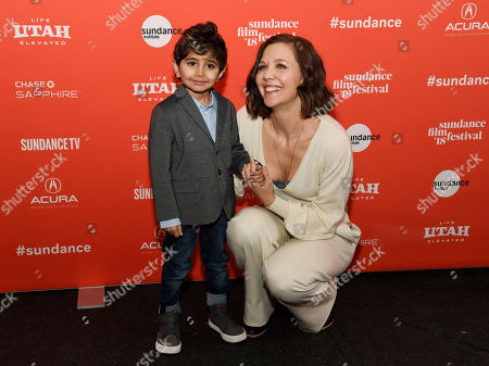 "Maggie Gyllenhaal, Parker Sevac. Maggie Gyllenhaal, right, and Parker Sevak, cast members in ""The Kindergarten Teacher,"" pose together at the premiere of the film at the 2018 Sundance Film Festival, in Park City, Utah"