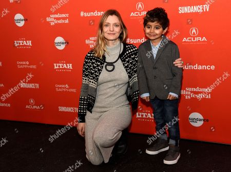 "Sara Colangelo, Parker Sevak. Sara Colangelo, writer/director of ""The Kindergarten Teacher,"" poses with cast member Parker Sevak at the premiere of the film at the 2018 Sundance Film Festival, in Park City, Utah"