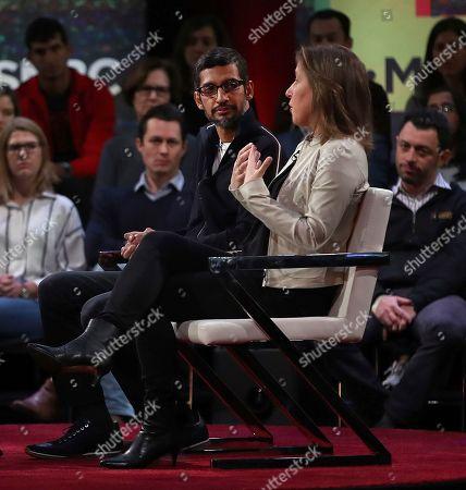 Sundar Pichai, Susan Wojcicki. YouTube CEO Susan Wojcicki, right, gestures beside Google CEO Sundar Pichai during the taping of a television program, in San Francisco