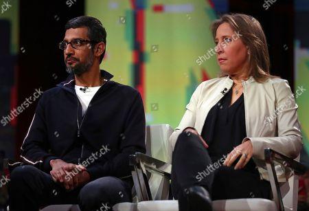 Sundar Pichai, Susan Wojcicki. Google CEO Sundar Pichai and YouTube CEO Susan Wojcicki are seated during the taping of a television program, in San Francisco