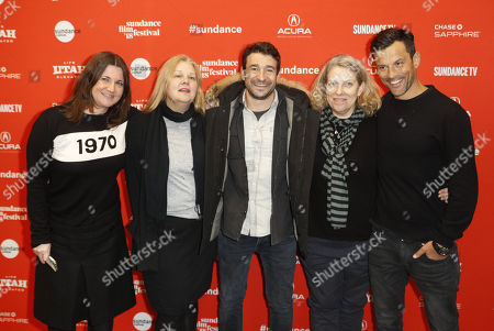 "(L-R) Producer Katherine Butler, producer Mary Jane Skalski, director Bart Layton, Producer Derrin Schlesinger and producer Dimitri Doganis arrives for the premiere of the movie ""American Animals"" at the 2018 Sundance Film Festival in Park City, Utah, USA, 19 January 2018. The festival runs from  the18 to 28 January."