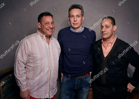 "David Kellman, Tim Wardle, Robert Shafran. David Kellman, from left, director Tim Wardle and Robert Shafran pose for a portrait to promote the film, ""Three Identical Strangers"", at the Music Lodge during the Sundance Film Festival, in Park City, Utah"