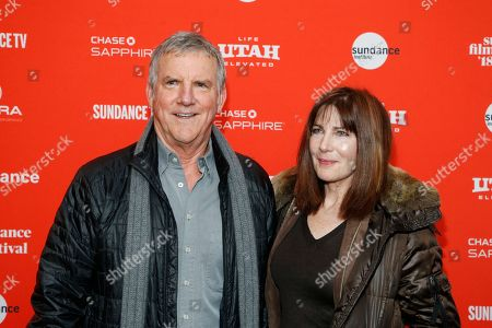 """Jamey Sheridan, Colette Kilroy. Actor Jamey Sheridan, left, and wife Colette Kilroy, right, pose at the premiere of """"Lizzie"""" during the 2018 Sundance Film Festival, in Park City, Utah"""