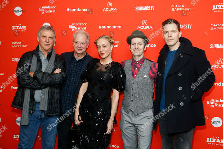 "Jamey Sheridan, Jeff Perry, Chloe Sevigny, Denis O'Hare, and director Craig William Macneill. Cast members Jamey Sheridan, Jeff Perry, Chloe Sevigny and Denis O'Hare and director Craig William Macneill, from left, pose at the premiere of ""Lizzie"" during the Sundance Film Festival, in Park City, Utah"