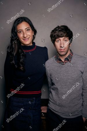 """Jessica Sanders, Simon Helberg. Director Jessica Sanders, left, and Simon Helberg pose for a portrait to promote the film """"End of the Line,"""" at the Music Lodge during the Sundance Film Festival, in Park City, Utah"""