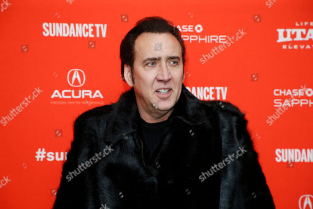 """Nicholas Cage. Actor Nicolas Cage poses at the premiere of """"Mandy"""" during the 2018 Sundance Film Festival, in Park City, Utah"""