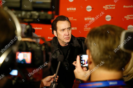 """Nicholas Cage. Actor Nicolas Cage is interviewed at the premiere of """"Mandy"""" during the 2018 Sundance Film Festival, in Park City, Utah"""