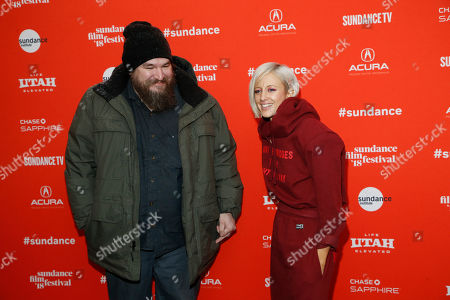 "Panos Cosmatos, Andrea Riseborough. Director Panos Cosmatos, left, and actress Andrea Riseborough, right, pose at the premiere of ""Mandy"" during the 2018 Sundance Film Festival, in Park City, Utah"