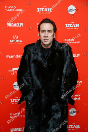 """Stock Picture of Nicholas Cage. Actor Nicolas Cage poses at the premiere of """"Mandy"""" during the 2018 Sundance Film Festival, in Park City, Utah"""