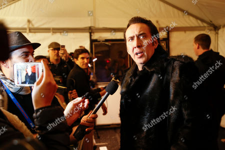 """Stock Image of Nicholas Cage. Actor Nicolas Cage is interviewed at the premiere of """"Mandy"""" during the 2018 Sundance Film Festival, in Park City, Utah"""
