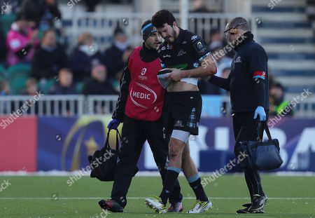 Leonardo Sarto of Glasgow Warriors is treat for an injury and goes off injured during the European Rugby Champions Cup match between Glasgow Warriors and Exeter Chiefs at Scotstoun Stadium on January 20th 2018, Exeter, Devon (