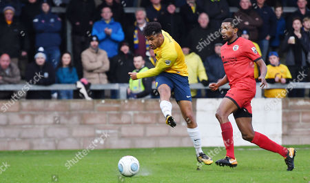 Jamie Reid of Torquay United shoots at goal, during the Vanarama National League match between Torquay United and Bromley at Plainmoor, Torquay, Devon on January 20
