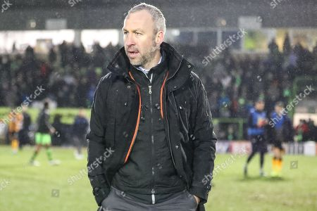 Cambridge United's manager Shaun Derry at the end of the match during the EFL Sky Bet League 2 match between Forest Green Rovers and Cambridge United at the New Lawn, Forest Green