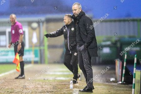 Cambridge United's manager Shaun Derry during the EFL Sky Bet League 2 match between Forest Green Rovers and Cambridge United at the New Lawn, Forest Green