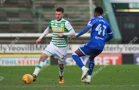 Tom James Of Yeovil Town in action against Zavon Hines Of Chesterfield during the Sky Bet League 2 match between Yeovil Town and Chesterfield at Huish Park, Yeovil, Somerset on January 20th 2018.