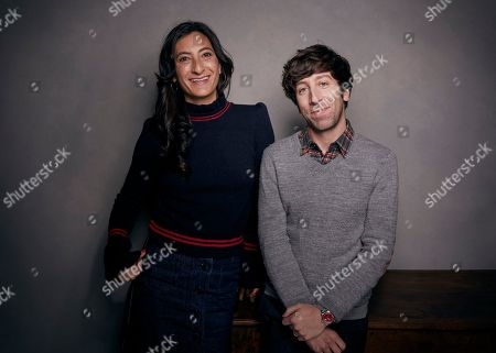 """Jessica Sanders, Simon Helberg. Director Jessica Sanders, left, and Simon Helberg pose for a portrait to promote the film, """"End of the Line"""", at the Music Lodge during the Sundance Film Festival, in Park City, Utah"""