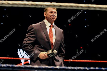 """WWE chairman and CEO Vince McMahon speaks to an audience during a WWE fan appreciation event in Hartford, Conn. WWE's 'Raw' set out to be a special kind of wrestling show from its birth on Jan. 11, 1993. """"Welcome everyone, to Monday Night Raw!"""" McMahon bellowed. """"We are live from New York City!"""" The WWE will celebrate the 25th anniversary of """"Raw"""" on Jan. 22, 2018 at its original home of the Manhattan Center with some of the biggest stars in the company's history stopping by for a fight"""